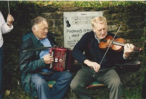 Timmy Collins, Newmarket & Paddy Jones, Castleisland at the birthplace of Padraig O' Keeffe, Ballydesmond
